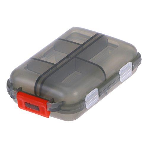 ROSENICE Pillendose Reise-Portable-Pillen-Fall im Freien mit 10 Fächern Double Layer Drug Seal Containerhalter (Grau) -