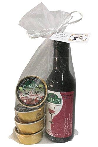 Pack gourmet de miniatura de vino 100% Extremeño y 4 monodosis de patés para celebraciones (Pack 24 ud)
