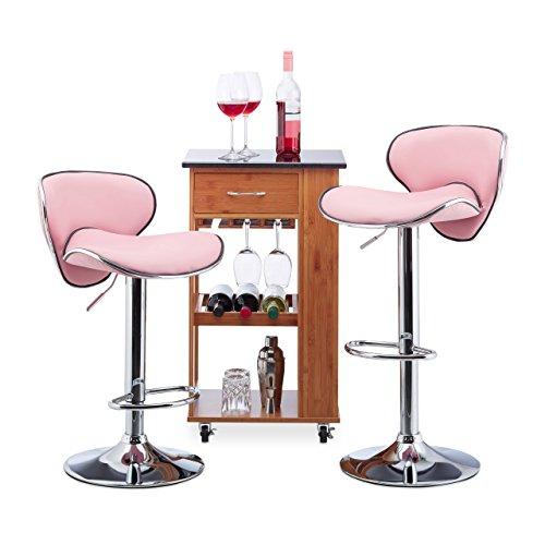 Relaxdays Bar Hocker Set von 2, Höhenverstellbar, Drehbar, 120kg, Metall Bistro Stuhl, HxBxT: 100x 46x 50cm, Pink