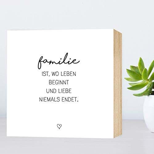 Familie - einzigartiges Holzbild 15x15x2cm zum Hinstellen/Aufhängen, echter Fotodruck mit Spruch auf Holz - schwarz-weißes Wand-Bild Aufsteller zur Dekoration oder Geschenk