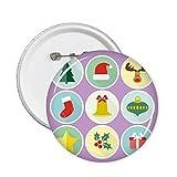 DIYthinker Cerchio verde albero di Natale Illustrazione Pin circolari badge 5pcs Abbigliamento regalo della decorazione Multicolore XL