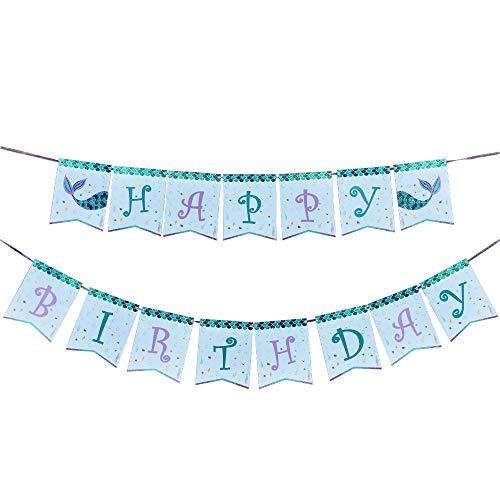 u Geburtstag Party Dekorationen - Meerjungfrau Happy Birthday Banner Alles Gute zum Geburtstag für Mädchen Kinder Unter dem Meer Schwimmbad Partyzubehör, Vorgespannt ()