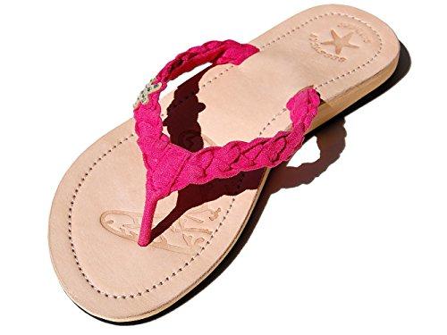 (Seestern Sportswear SEESTERN Damen Leder Zehentrenner Zehensandale Zehensteg Sandalen in Größe 36-44/FBA_1337 Rosa EUR 37)