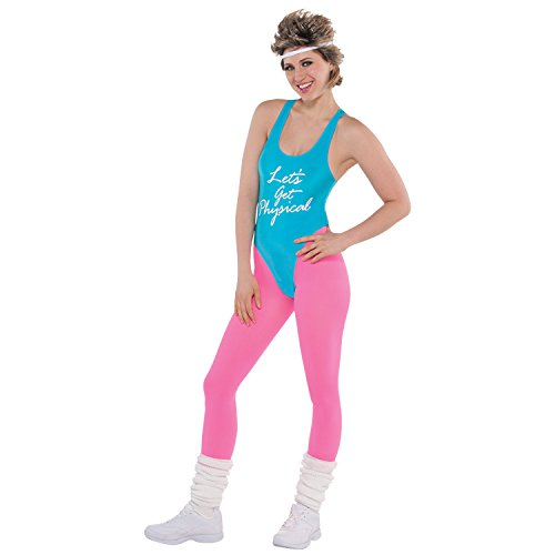 Lets Get Physical Ladies Costume 1980s Oliva Fitness Womens 80s Fancy Dress (80's Fitness Kostüm)