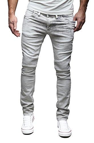 MERISH Herren Jeanshose Biker auch Destroyed Jeans SLIM FIT Jeans Hose 4 Farben Neu Style Trend J1166 Grau