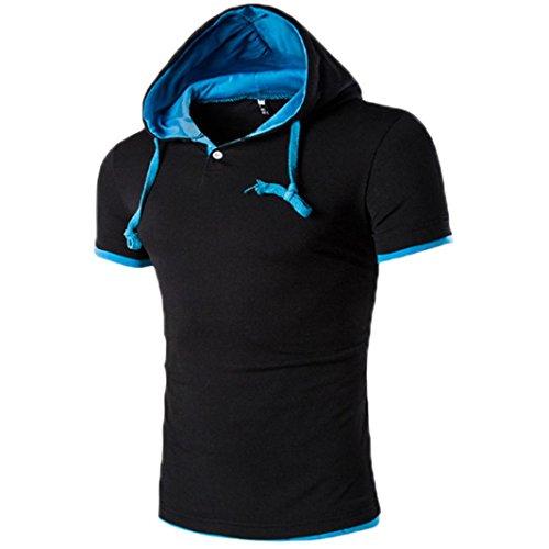 Hier Crewneck Sweatshirt (OverDose Herren Sommer Hoodie Bluse Mode Kapuzen V-Ausschnitt Pullover Herren Kurzarm Sports T-Shirt Slim Fit Hemd Oberteile Tank Tops (M, Blau1))
