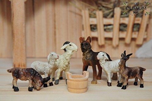 Krippenzubehör mit LED, 7-tlg. Braver Hund mit Herde, mit Schäferhund, Ziegen Schafe Holzwanne als Zubehör-Set für Passions- und Weihnachtskrippe, - KREUZWEG-Licht Jesus 13-2 Krippenzubehör Passion, Mt 27,57-59,- Passion Christi - für 9-10 cm Figuren (Holz-herd-licht)