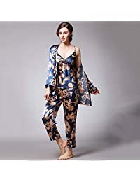 9067595eaa AIBAB Seda Pijama Ropa De Mujer Chandal Traje De Tres Piezas Manga Larga  Pantalones