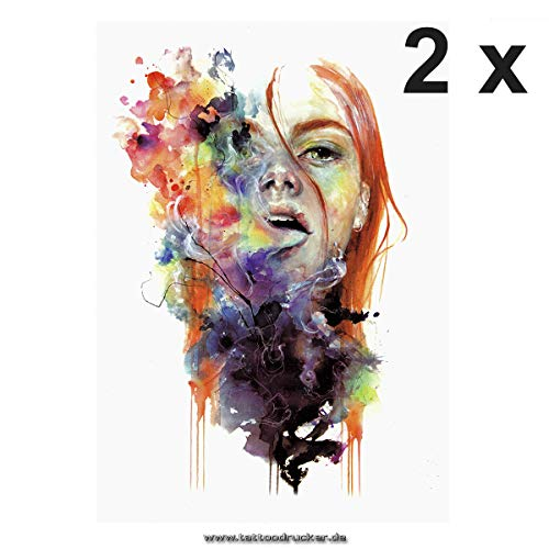 2 x buntes Frauengesicht XL Tattoo - Rote Haare Wasserfarben Rauch - Body Temporary Tattoo - HB442 (2)