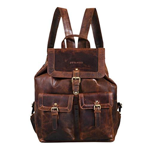 STILORD 'Nora' Großer Lederrucksack Braun Vintage Hochwertiger Daypack 15.6 Zoll Rucksack-Handtasche für Schule Uni Freizeit Echtes Leder, Farbe:Zamora - braun -