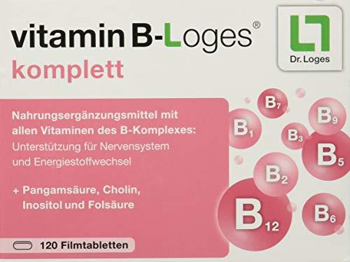 vitamin B-Loges komplett - Vitamin B Komplex Tabletten hochdosiert - hochwertiges Vitamin B1 B2 B3 B5 B6 B7 B9 B12 für Nervensystem und Energiestoffwechsel - 120 vegane Filmtabletten
