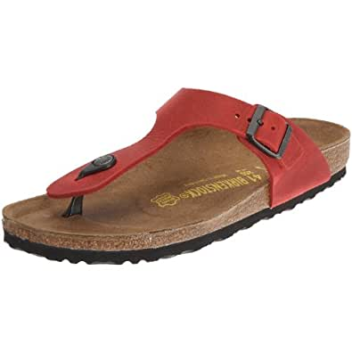 Birkenstock Gizeh Natural Leather, Style-No. 643853, Unisex Thong Sandals, Red, EU 43, slim width