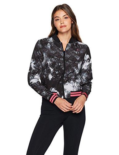 Danskin Damen Bcrf Reversible Bomber Jacket Jacke, Rich Black Printed, Mittel Printed Reversible Jacke