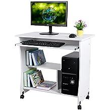 Kendan Orthros Blanco - Compacto Escritorio de esquina, para casa u oficina, con bandeja deslizante para teclado y soporte para torre de ordenador de la horquilla de estación de trabajo