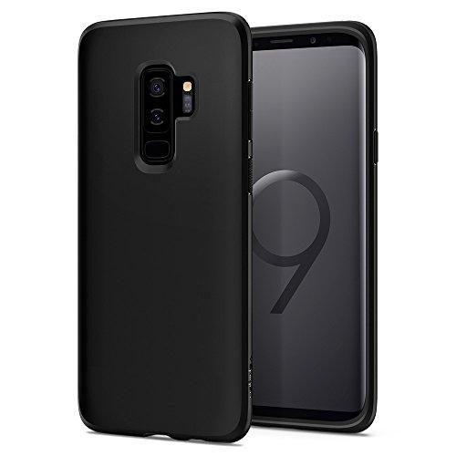 Spigen 593CS22912 Liquid Crystal für Samsung Galaxy S9 Plus Hülle, TPU Silikon Handyhülle Durchsichtige Schutzhülle Case Matte Black