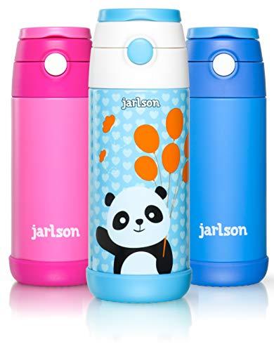 Jarlson - Borraccia per Bambini | in Acciaio Inox | Bottiglia per l'acqua | a Prova di perdite | Senza BPA | con Cannuccia | termos 350 ml