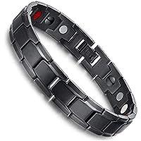 4 en 1 Bio Éléments Thérapeutique énergétique Bracelet de guérison Bracelet en acier au titane Bracelet de soulagement de la douleur pour l'arthrite et le canal carpien (Noir)