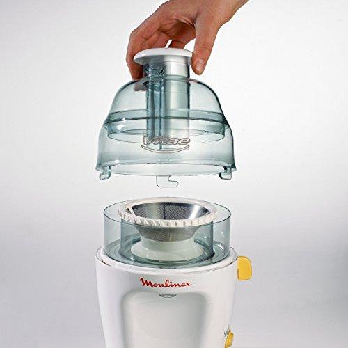 Moulinex Vitae JU200045 Licuadora compacta, velocidad de 12800 rpm, tapa y contenedor de pulpa transparentes, filtro de Inox compatible con lavavajillas 200 W, Blanco
