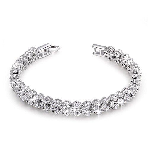 Kami idea regali san valentino donna tennis braccialetto regina delle nevi placcato in oro bianco cubic zirconia gioielli per natale compleanno anniversario mamma lei madre