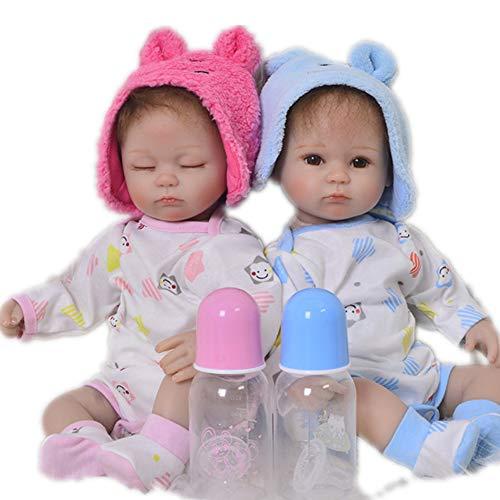 Candyana Reborn Doll Neugeborene Baby Full Body Silikon Dolls Twins Cute Boy Girl Birthday Chirstmas Kinder Geschenk,color1,42cm