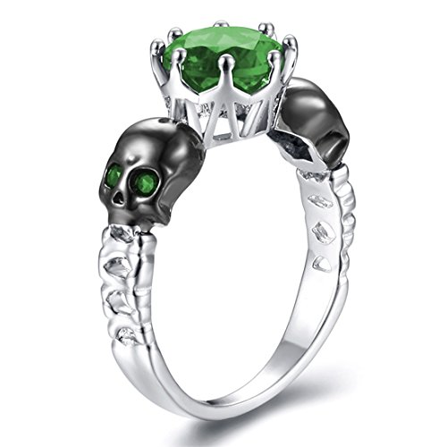 inge Schädel Band Skelett Knochen Gothic Ringe grün bösen Blick Schädel Ewigkeit Ringe (Prinzessin Skelett)