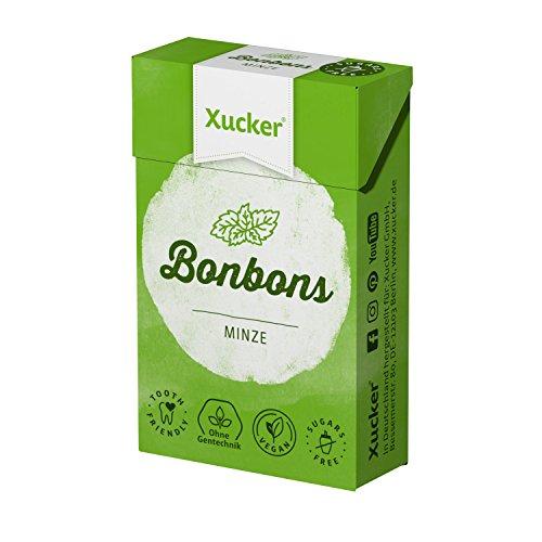 Xucker 50 g Xylit-Bonbons Minze - zuckerfreie Zahnpflegebonbons - mit natürlichem Aroma, optimal für die kohlenhydrat-bewusste Ernährung - Made in Germany - frei von Gentechnik