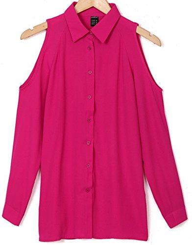 Freestyle Shirts Femme Sexy T-Shirt Mousseline de Soie en Vrac Chemisier Outre de L'Épaule Tops à Manches Longues Blouse Rosé