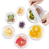 Dehnbare Silikondeckel [7er Set] Die wiederverwendbare Alternative für Frischhalte sowie Alufolie Deckel für Schüssel, Obst, Auflaufform