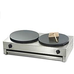 40cm doble placa Gas butano comercial Crepera máquina para crepes antiadherente de plancha