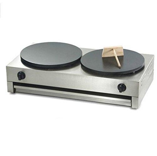 40cm Doppel-Teller LPG Gas Commercial Crepe Maker Maschine antihaftbeschichtet Pancake Pfanne Grillpfanne