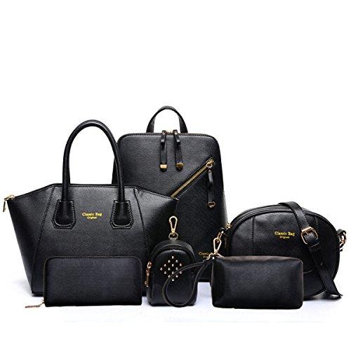 Damen Koffer Mode Handtasche Umhängetasche Diagonalpaket Umhängetasche Exquisite 6 Sets Black