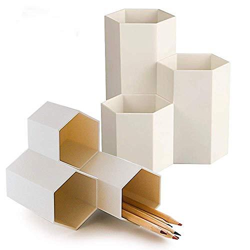 BUONDAC 2pcs Organizador Escritorio Mesa Oficina Multifuncional Hexagonal Cubilete Lapices Portalápices Porta Bote Lapicero Escritorio Blanco