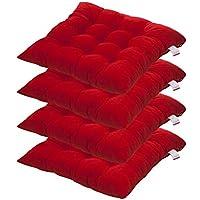 canap/é bureau maison Lot de 4 coussins de chaise carr/és avec sangles pour patio d/écoration 39,9 x 39,9 cm 40cm by 40cm Red voiture tatami