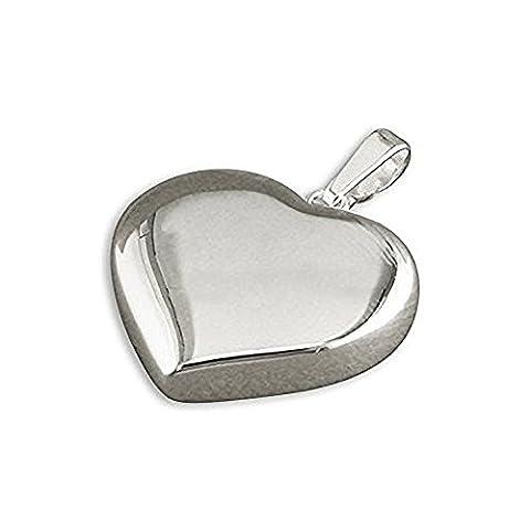Flat Heart Sterling Silver Pendant - On 20