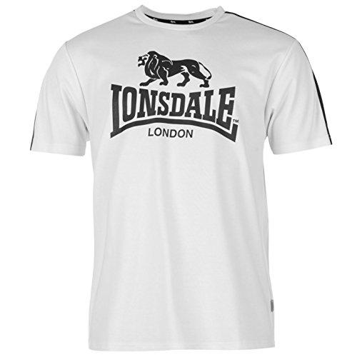 Lonsdale Uomo Due a strisce, grande logo T Shirt Girocollo A maniche corte maglietta Top, White/navy, M