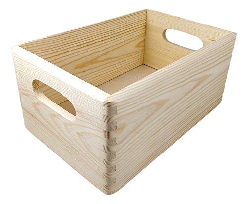 Holzkiste / Holzbox, ca. 30x20x14cm - unbehandelte Kiefer natur, stapelbar, stabil, abgerundete Ecken, Grifflöcher - Stapelbox zum Basteln, Bemalen, zum Aufbewahren & Ordnen, für Spielzeug