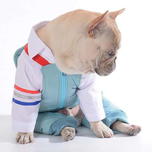 Kostüm Grüne Bohnen - JFFFFWI Herbst und Winter Haustier Kleidung Zweiteilige Trägerhose Hemd Lätzchen Haustier Hundebekleidung (Farbe: Grün, Größe: S)