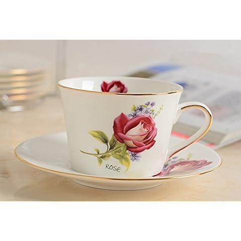 BeiBeiLove in porcellana, Tazza da tè e piattino per tazzina da caffè con piattino e cucchiaio, in porcellana, 7 oz Romantic Rose