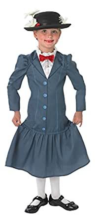 Rubie's Official 1960s Mary Poppins + Hat Girls Fancy Dress 60s Disney Childs Costume Outfit, Multicolour, Small Ages 3 - 4 Years