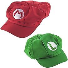 Katara - Gorra disfraz Super Mario Bros para niños y adultos, set de 2 gorras de Mario y Luigi