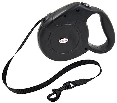 Pugga® NEUERÖFFNUNGSANGEBOTE Roll-Leine Haustierleine, Automatisch versenkbarer Gurt, 5 m, für Hunde bis max. 50 kg schwarz
