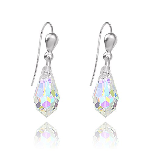 Lares Domi 925 Sterling Silver Delicate Drop Earrings with Austrian Crystal Beads 6kkpDn