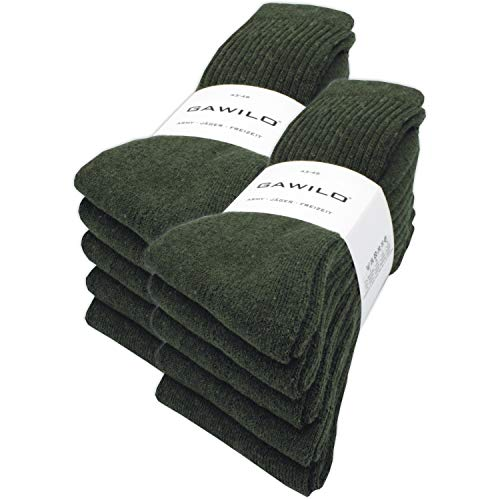 GAWILO 10 Paar stabile Army - Jäger - Freizeit Socken aus strapazierfähiger Baumwolle (43-46, grün)
