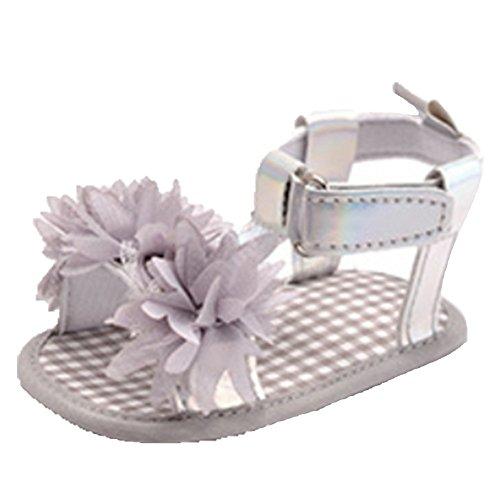 Ohmais Enfants Chaussure Bebe Garcon Fille Premier Pas Chaussure premier pas bébé Sandale en tissu souple Gris