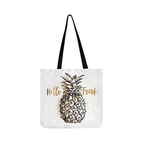 Gold Silber Ananas Frucht Auf Weiß Leinwand Tote Handtasche Schultertasche Crossbody Taschen Geldbörsen Für Männer Und Frauen Einkaufstasche
