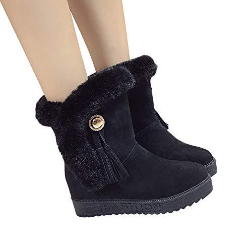 Stiefel Damen Boots Frauen Wildleder Stiefeletten Plüsch Quasten Runde Zehe Schuhe Halten Warme Winterstiefel Schneestiefel Freizeitschuhe ABsoar