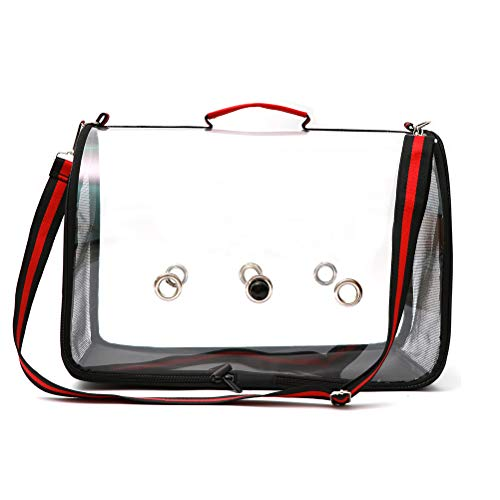 Ourine Lightweight Bird Carrier Cage Lightweight Bird Carrier Cage Transparent Clear PVC Breathable Parrots Carrier Travel Bag Cage Black&Red