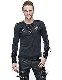 d79eda67ee23 Devil Fashion Gothic Herren Punk Mode Langarmshirt Steampunk Retro Langen  Ärmeln Tops mit Gürtel Für…