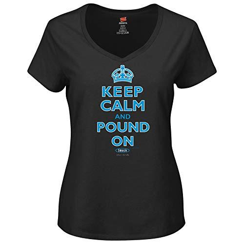Smack Apparel Carolina Panthers Fans. Keep Calm und Pfund auf Schwarz Ladies V-Neck Shirt (SM-2x) Kombi, Mädchen Unisex Herren Damen, Schwarz, Large (Usa-fußball-jersey-kinder)