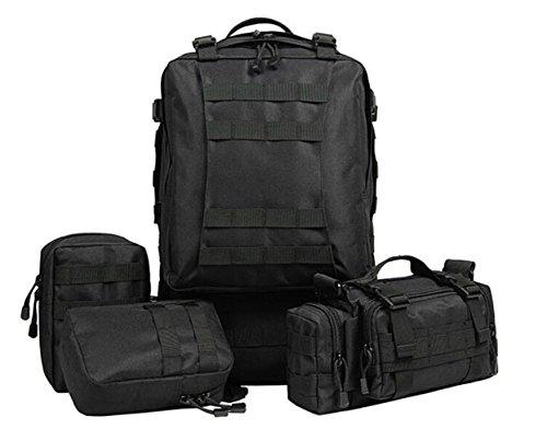 Sport im freien taktische militär rucksack multifunktionale sling schulter rucksack reisen große wandern trekking - rucksack mit 3 camping zerlegbar molle taschen, rucksäcke 60L Black
